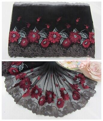 """9/""""*1Y Embroidered Tulle Lace Trim~Black+Deep Red~Red Red Rose~Gorgeous~SALE~"""