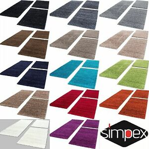 Shaggy-d-039-un-epais-tapis-Carpet-3tlg-Bettumrandung-coureur-set-Chambre-Couloir