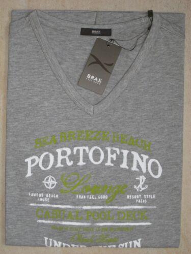 BRAX Herren T Shirt kurzarm grau bedruckt mit V Ausschnitt  NEU