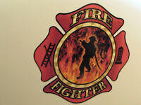 Gas Tank & Fender Decals For Harley & All Motorcycles - Firefighter - 6pc Set