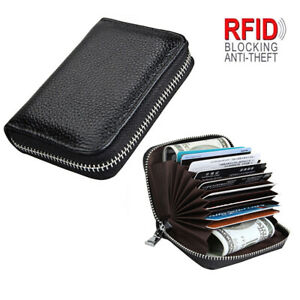 Unisex-Cowhide-Leather-Wallet-Coin-Purse-RFID-Blocking-ID-Card-Case-9-Card-Slot