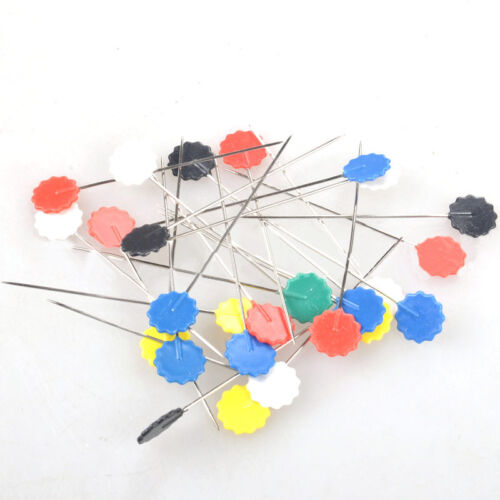 50 pcs Flower Head Pins Extra Long Coloured 52 mm Pins Patchwork Quilting Tools