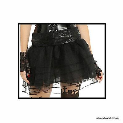 HOT TOPIC NEW Tutu Mini SKIRT Juniors L XL Sexy BLACK Shiny GOTH LOLITA GOTHIC