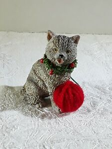 Gray Cat With Red Ball Of Yarn Christmas Ornament Ebay