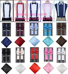SUSPENDER-and-BOW-TIE-COMBO-Pocket-Square-Hanky-Set-Tuxedo-Classic-Wedding-Prom