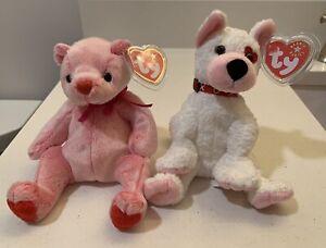 Set Of 2 Romance Bear & Cupid Dog Valentine Beanie Baby TY original tags, Mint!