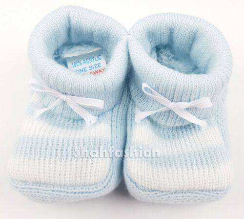Baby Boys Girls 1 Pair Knitted Baby Booties New Born To 3 Months Approx 1116