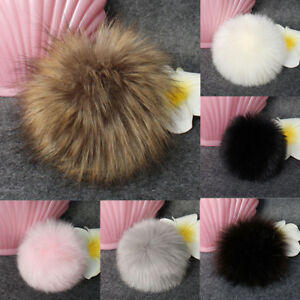 Women DIY Hats Balls Gift Faux Fur Fluffy Pompom Ball For Knitting Hat Hats