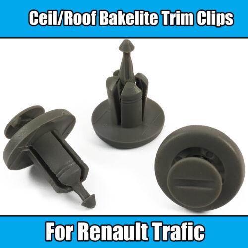 20x Clips For Renault Traffic Ceiling Roof Bakelite Trim Clips Dark Grey Plastic