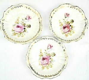Lot of 3 fine china dessert Plates White w Pink/Green/yellow Floral Gold rimmed