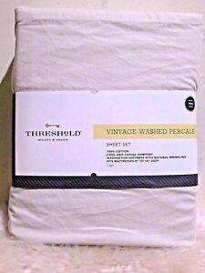 Image Is Loading New Threshold Vintage Washed Percale Sheet Set 3