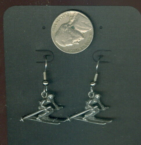 "Pewter Skier Skiing Hook Ear Wire Earrings ~ Hypo-Allergenic Light ~ Appx 1/"" NEW"