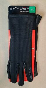 Spyder Synthesis Leather Gloves, Black w/ Gray Stitching - Choose Size NWT