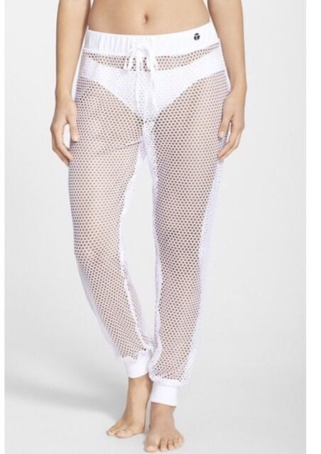 New Women's Trina Turk Recreation Mesh Cover Up Jogger Pants, Size S White