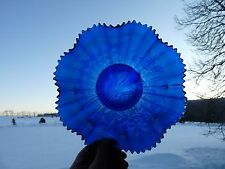 NORTHWOOD Electric Blue Carnival Glass PEACOCKS ON THE FENCE Bowl..c1911