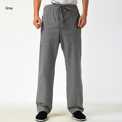 Men Cotton Trousers Kung Fu Tai Chi Pants Exercise Practice Casual Chinese Style