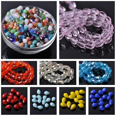Teardrop Faceted Crystal Glass Loose Crafts Beads lot 5x3 7x5 12x8 15x10 18x12mm