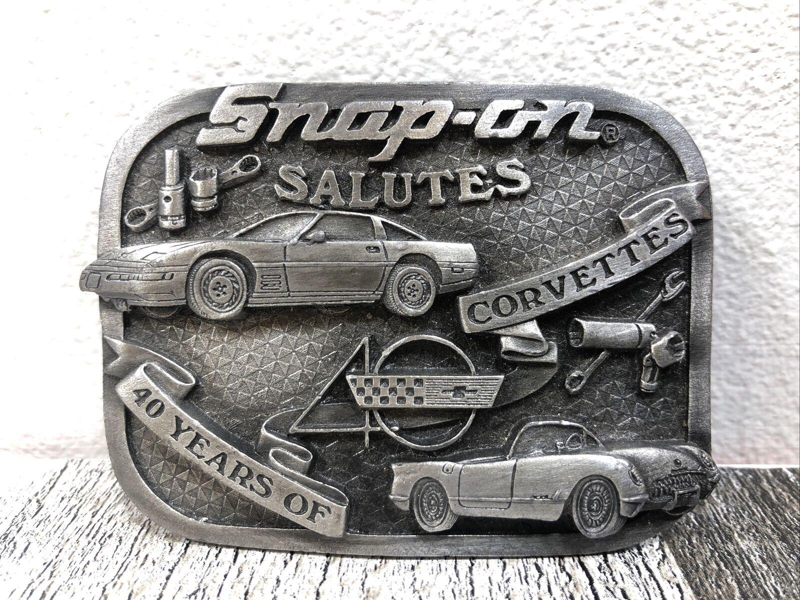 Snap-On Salutes 40 Years of Corvettes Vintage Pewter Belt Buckle Bergamot 1993