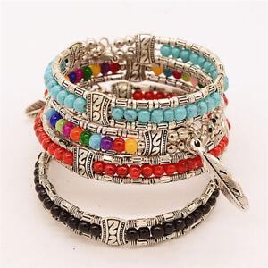 Tibetan-Silver-Feather-Bangle-Women-Gypsy-Turquoise-Vintage-Bohemian-BraceleB-Ze