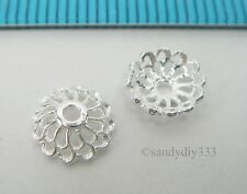 8x BRIGHT STERLING SILVER FLOWER BEAD CAP 7.2mm SPACER BEAD #2480