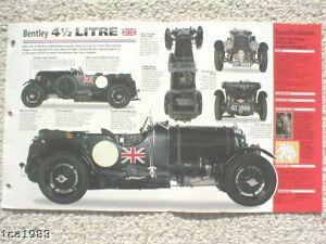 1927-1931 Bentley 4 1/2 Litre 4.5 L Spec Feuille / Brochure MatéRiaux Soigneusement SéLectionnéS