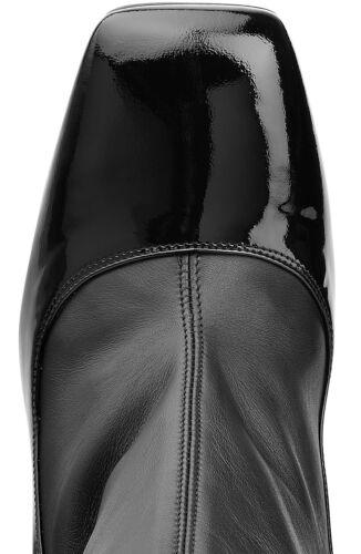 Bottes Bottines 37 Etirable Alexander Mi heel Mcqueen Noir mollet Lacquered RTc8Bw4qx