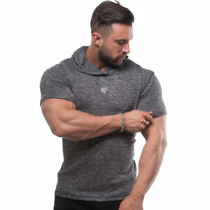 Men/'s Muscle Gym Bodybuilding Training Short Sleeve Fitness Hoodies T-shirt Tees