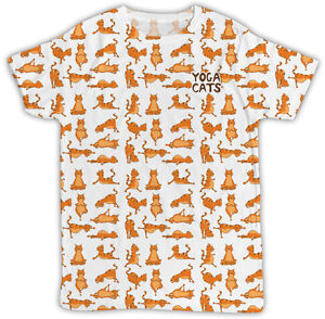 1b678d5fa FUNNY YOGA CATS ALL OVER PRINTED T SHIRT BIRTHDAY PRESENT UNISEX ...