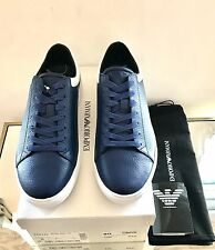 Emporio Armani Blue Grained Leather Trainers Sneakers UK 8 EU 42 RRP £195 New