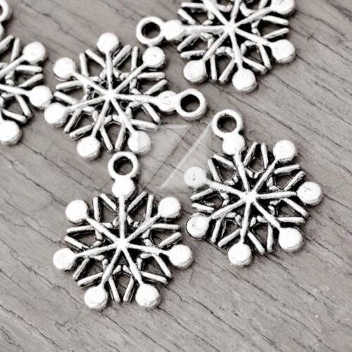 hágalo usted mismo Tibetano Plata Metal encanto colgante resultados Copo de Nieve 20x17x2mm 50 un