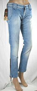 Jeans-Donna-Pantaloni-MET-Italy-C427-Blu-Vita-Bassa-Gamba-Dritta-Tg-26-29-30-31