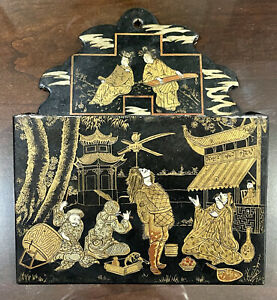 Antique Japanese Black Paper Mache Lacquer Wall - Mounted Letter Holder