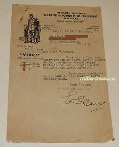 Courrier-de-1947-FEDERATION-NATIONALE-des-BLESSES-du-POUMON-amp-CHIRURGICAUX-N-2