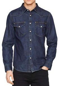 LEE-New-Mens-Western-Denim-Shirt-New-Men-s-Blue-Print-Jean-Shirts-Slim-Fit