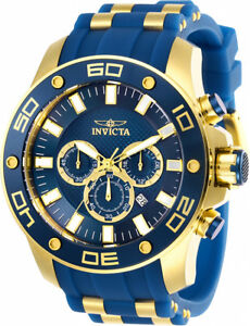 Invicta-Men-039-s-Pro-Diver-Chrono-100m-Gold-Tone-S-Steel-Blue-Silicone-Watch-26087