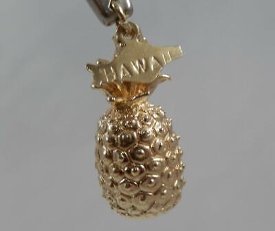 14K Aloha Hawaii Oval Pineapple Souvenir CharmPendant Yellow Gold