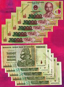 5-x-20-Billion-Zimbabwe-Dollars-5-x-10000-Vietnam-Dong-Bank-Notes-Currency-Lot