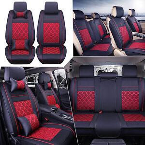 AU-Car-Seat-Cover-Full-Set-PU-Leather-Ice-Silk-5-Seats-Front-Rear-Pillow-4Season
