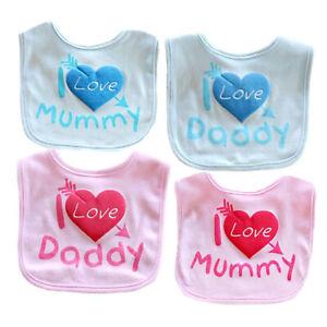 Soft Baby Boys Girls 100/% Cotton I LOVE MUMMY,I LOVE DADDY Blue and Pink Bibs UK