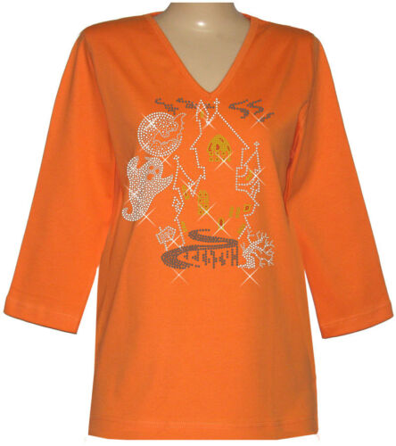 Ghost Halloween Rhinestone House Embellished Top Large Bats Haunted Ghoul ZTqXnFWHB