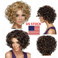 Women Heat Resistant Synthetic Short Curly Front None Hair Wig Afro Wig Us Stock