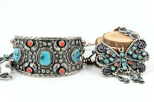 Navajo-Indianerschmuck-Silber-Konvolut-Mexico-Armreif-Collier-Tuerkis-Koralle