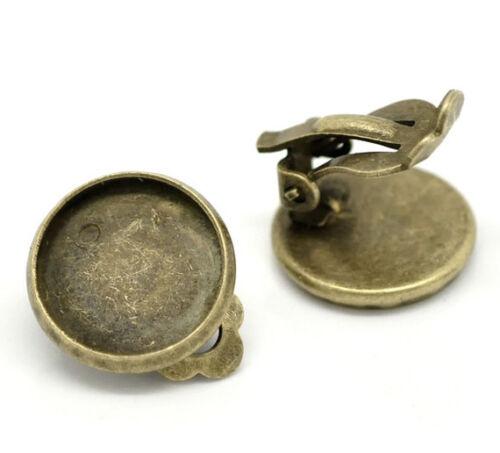 10 supports boucle d/'oreilles  en laiton pour cabochon  14 mm bronze