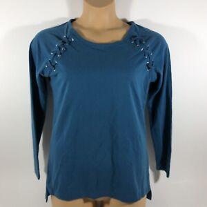 Ariat-Real-Tied-Top-Long-Sleeve-Shirt-Blue-Women-s-Medium-M