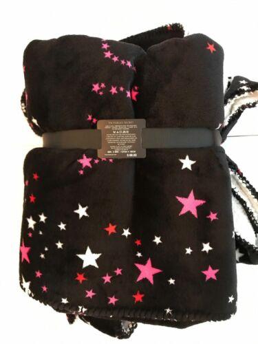 NEW Victoria/'s Secret Pink Black Friday Sherpa Blanket Leopard Print Star Hearts