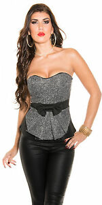 Sexy-Damen-Bustier-Corsage-Top-Shirt-Bluse-mit-Schleife-Gr-S-M-36-38-NEU-H