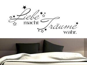 Details zu Wandtattoo Wandaufkleber für Schlafzimmer Spruch Liebe macht  Träume wahr