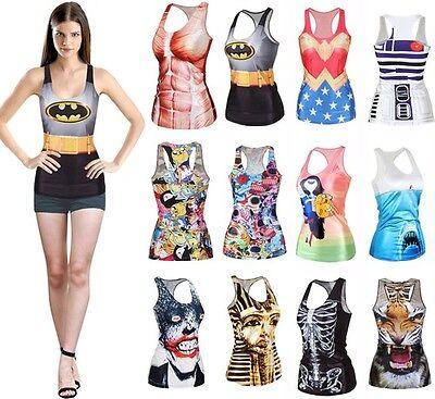 Women Fashion Graphic Print Sleeveless T-Shirt Top Vest Tank Party Club DG BX01