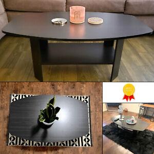 Coffee Table Shelf Living Room Wooden Shelving Unit Modern Design Oval Shape Ebay