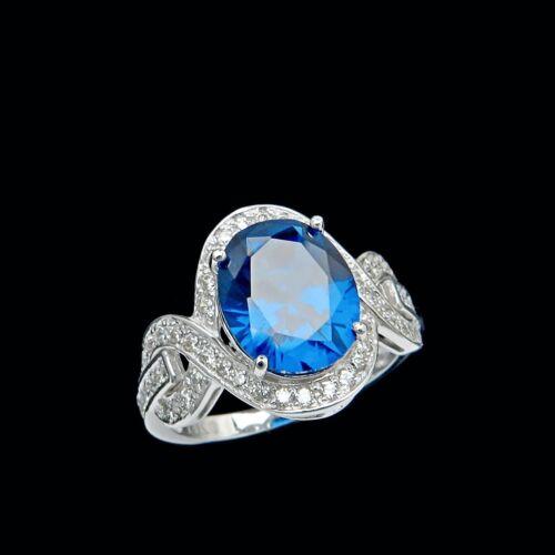 4.00TCW Ovale Saphir Bleu /& Round créé Diamant Halo Bague Véritable 14K Solide Or